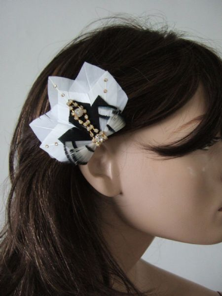 "Black White Gold Feathers + Crystals Bridal Gatsby Art Deco Party Fascinator Hair Clip ""Jules"""